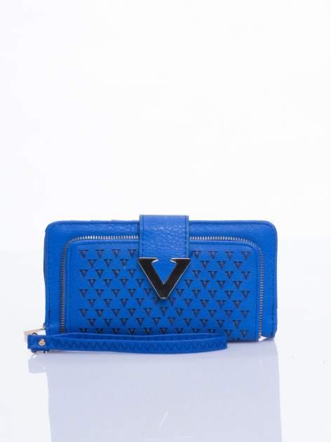 Niebieski portfel ze złotym detalem V