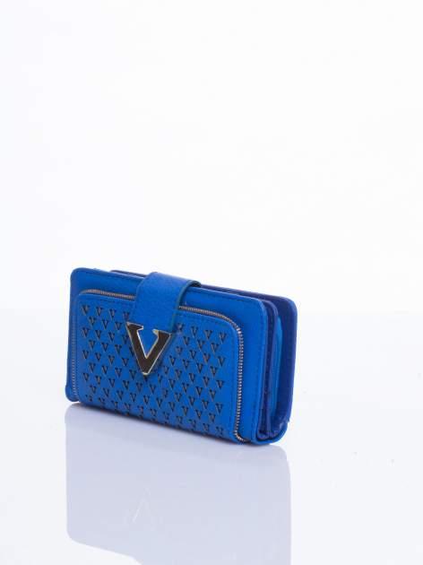 Niebieski portfel ze złotym detalem V                                  zdj.                                  2