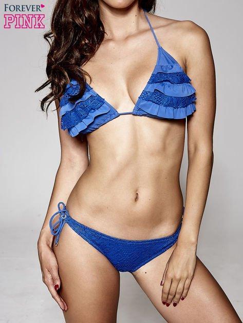 Niebieski stanik od bikini z koronką                              zdj.                              5