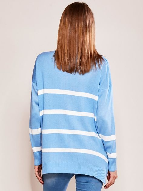 Niebieski sweter damski w pasy                              zdj.                              2