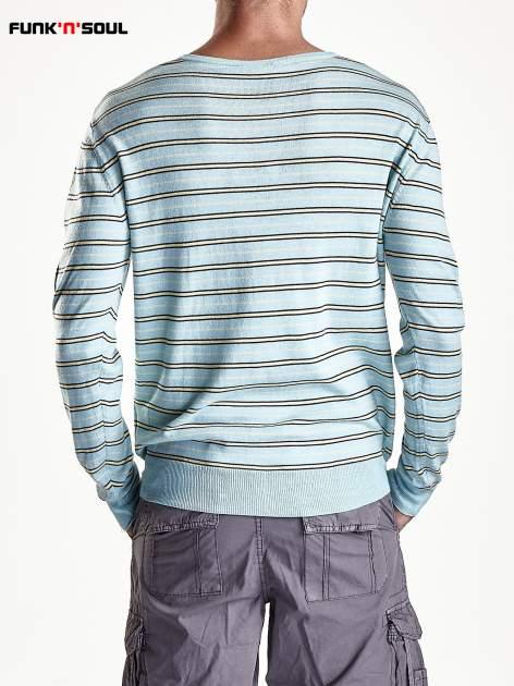 Niebieski sweter męski w paski Funk n Soul                                  zdj.                                  6