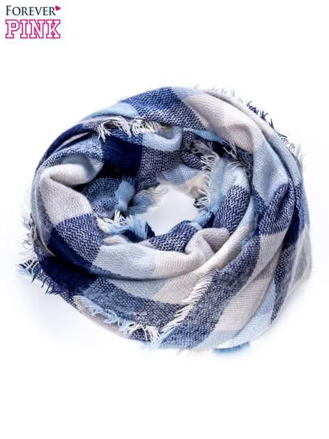 Niebieski szalik w kratę                                  zdj.                                  3