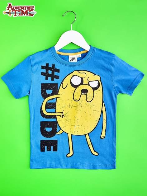Niebieski t-shirt chłopięcy  motywem ADVENTURE TIME                                   zdj.                                  1