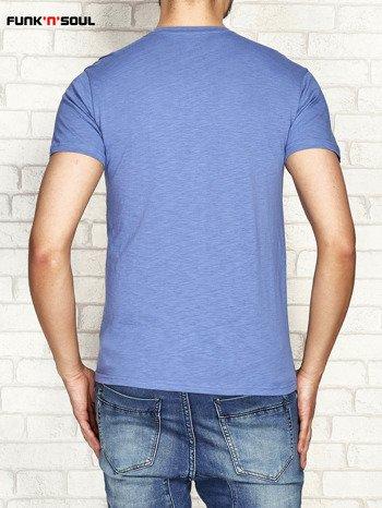 Niebieski t-shirt męski z nadrukiem FUNK N SOUL
