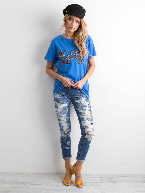 Niebieski t-shirt z aplikacją                              zdj.                              4