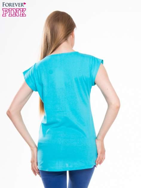 Niebieski t-shirt z nadrukiem I'M NOT PERFECT BUT I AM LIMITED EDITION                                  zdj.                                  3