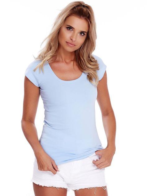 Niebieski t-shirt z okrągłym dekoltem                              zdj.                              1