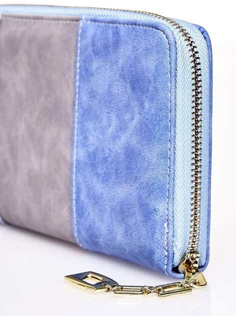 Niebieski trójkolorowy portfel z uchwytem                                  zdj.                                  4