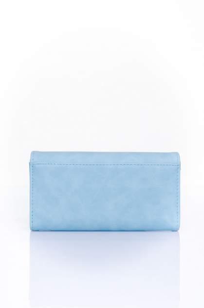 Niebieski zamszowy portfel z geometrycznym motywem                                  zdj.                                  2