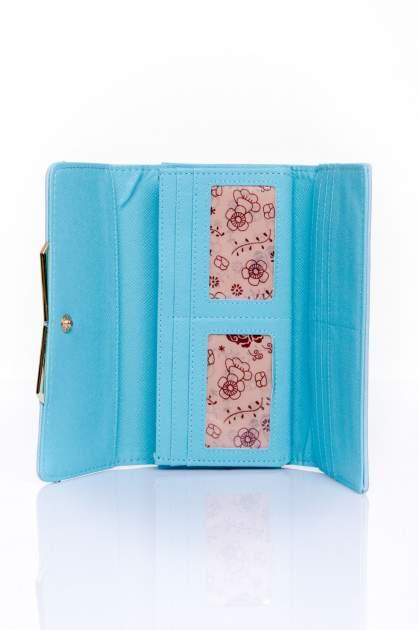 Niebieski zamszowy portfel z geometrycznym motywem                                  zdj.                                  4