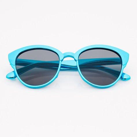 Niebieskie Dziecięce Okulary przeciwsłoneczne Z Metalicznym Połyskiem                              zdj.                              1