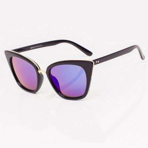 Niebieskie Lustrzane Damskie Okulary przeciwsłoneczne CAT EYE                              zdj.                              4