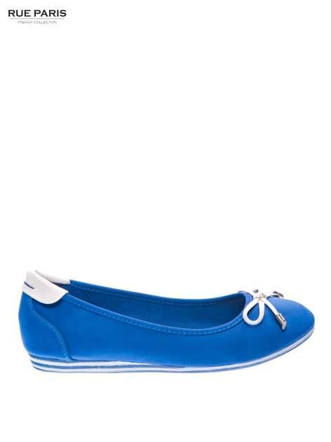 Niebieskie baleriny na niskim koturnie