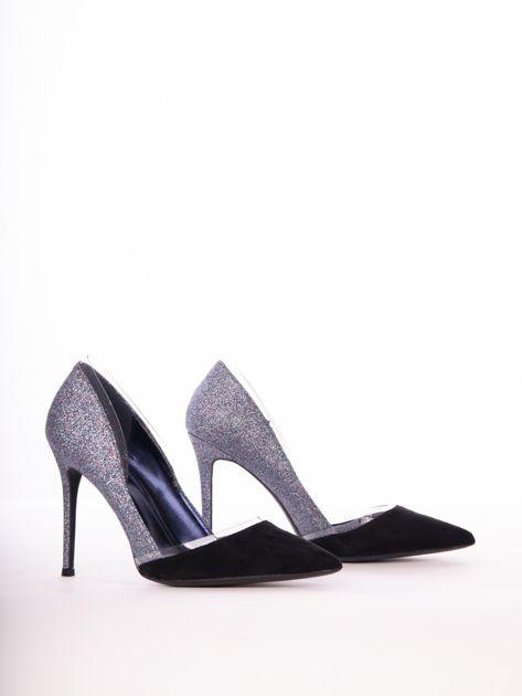 Niebieskie brokatowe szpilki z czarną wkładką                              zdj.                              3