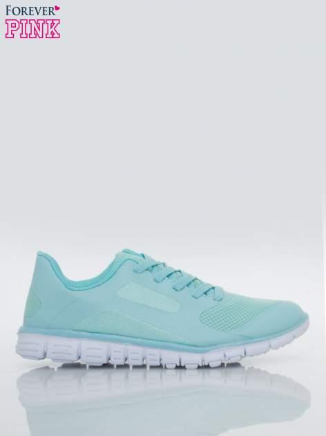 Niebieskie buty sportowe damskie z podeszwą z rowkami flex