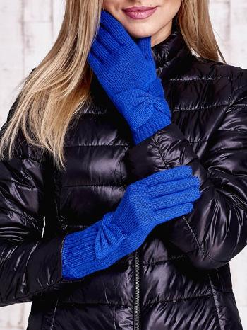 Niebieskie długie rękawiczki z kokardą i prążkowanym ściągaczem