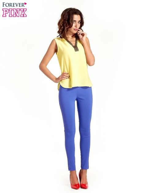 Niebieskie dopasowane spodnie typu tregginsy                                  zdj.                                  2