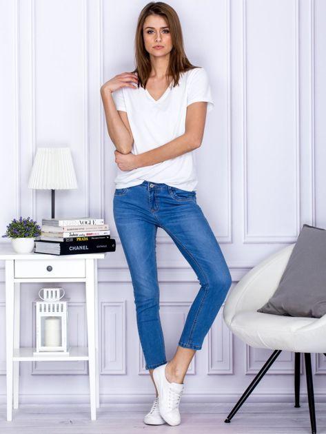 Niebieskie gładkie jeansy regular PLUS SIZE                                  zdj.                                  4