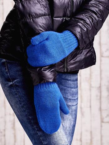 Niebieskie gładkie rękawiczki z jednym palcem                                  zdj.                                  1