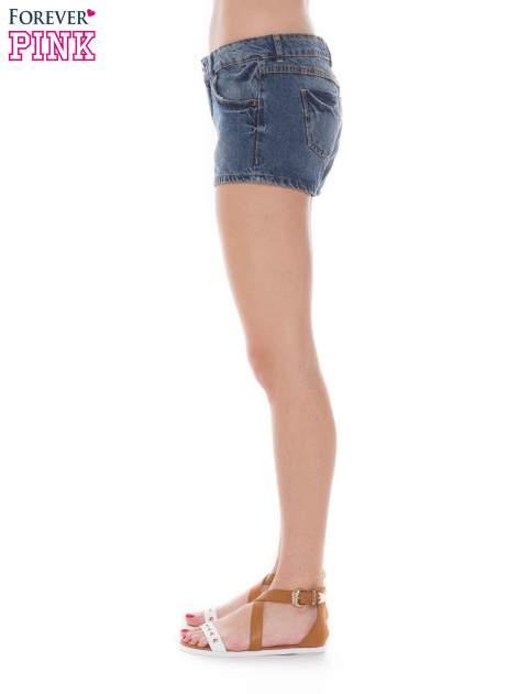 Niebieskie jeansowe szorty z efektem sprania                                  zdj.                                  2