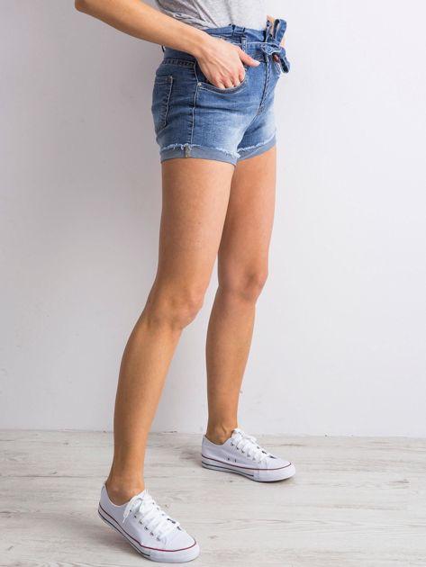 Niebieskie jeansowe szorty z wiązaniem                              zdj.                              3