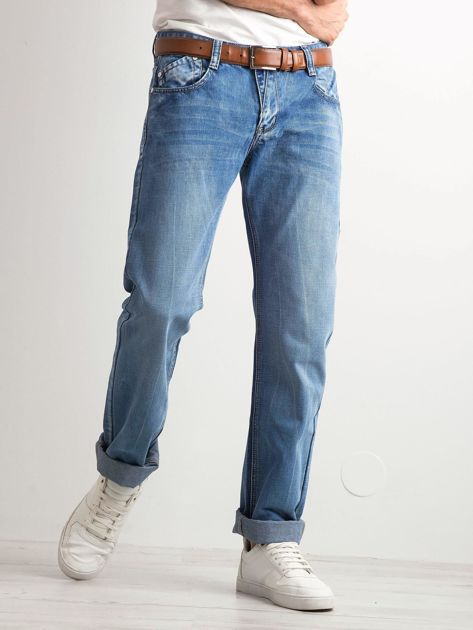 Niebieskie jeansy męskie regular fit                              zdj.                              1