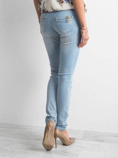 Niebieskie jeansy regular z efektem sprania                              zdj.                              3