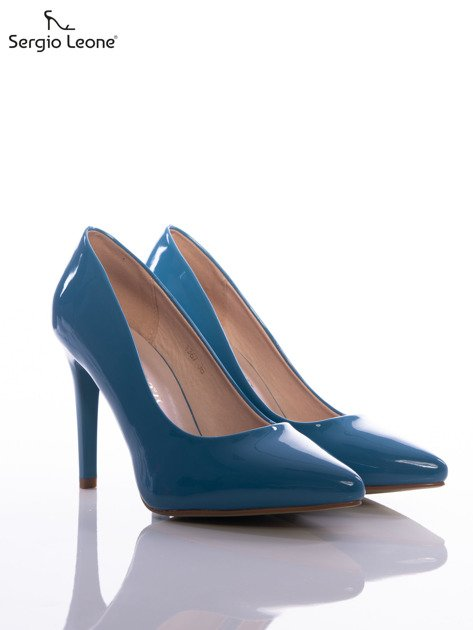 Niebieskie lakierki Sergio Leone na cienkich szpilkach                              zdj.                              2