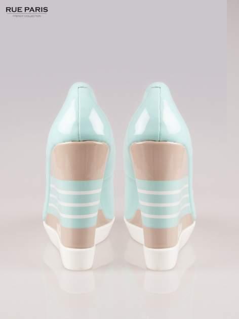 Niebieskie lakierowane buty peep toe na wzorzystym koturnie                                  zdj.                                  3