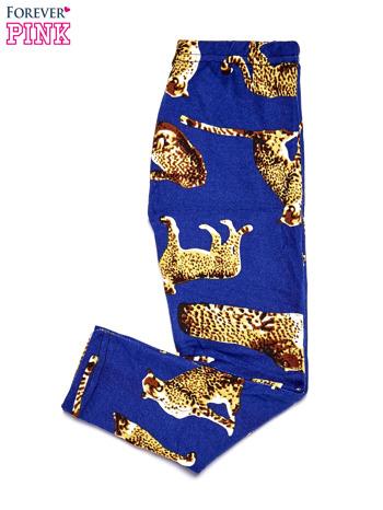 Niebieskie legginsy dziewczęce z nadrukiem gepardów                              zdj.                              2