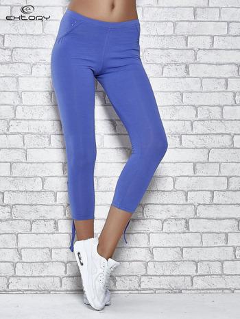 Niebieskie legginsy sportowe 7/8 z wiązaniem                                  zdj.                                  1