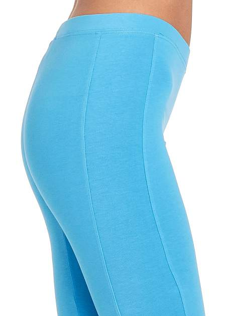 Niebieskie legginsy sportowe z drapowaniem                                  zdj.                                  6