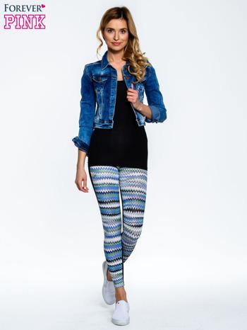 Niebieskie legginsy two tone w etniczny wzór                                  zdj.                                  6
