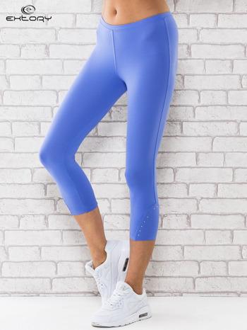 Niebieskie legginsy z dżetami na nogawkach                                  zdj.                                  1