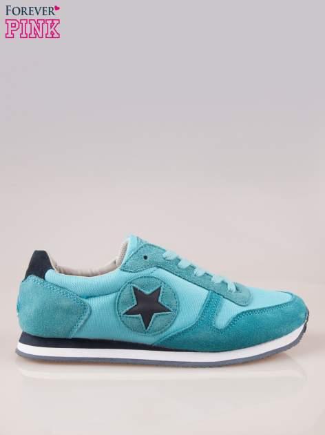 Niebieskie miejskie buty sportowe z zamszu                                  zdj.                                  1