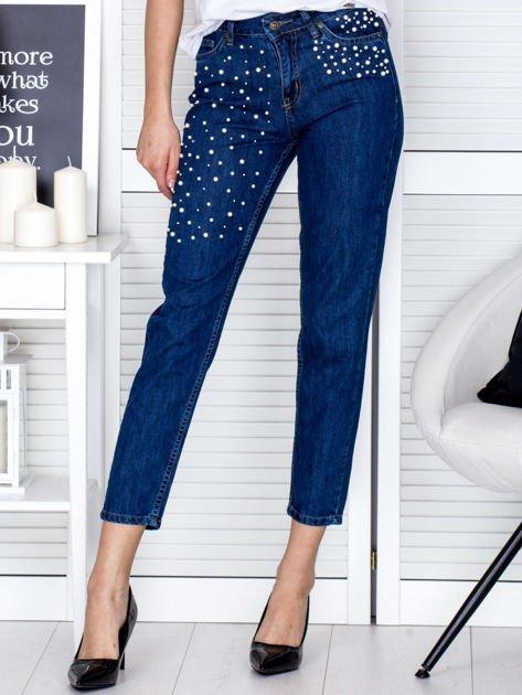 Niebieskie proste spodnie z perełkami                                  zdj.                                  1