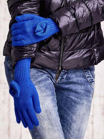 Niebieskie rękawiczki z kokardką i długim ściągaczem                                  zdj.                                  3