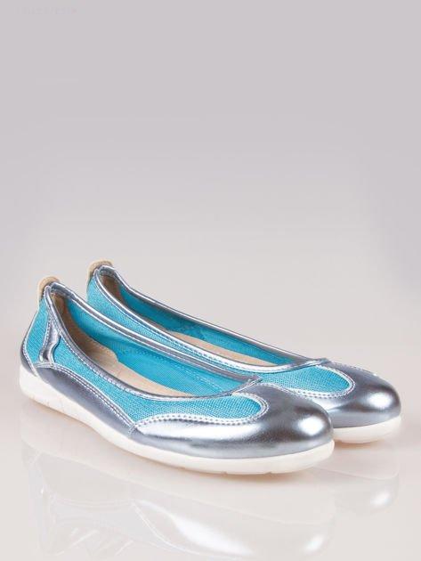 Niebieskie siateczkowe baleriny Comfort w sportowym stylu                                  zdj.                                  2