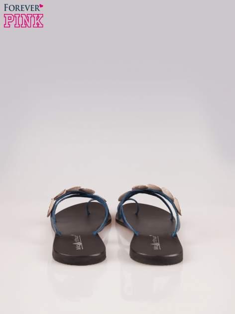 Niebieskie skórzane klapki japonki w stylu etno                                  zdj.                                  3