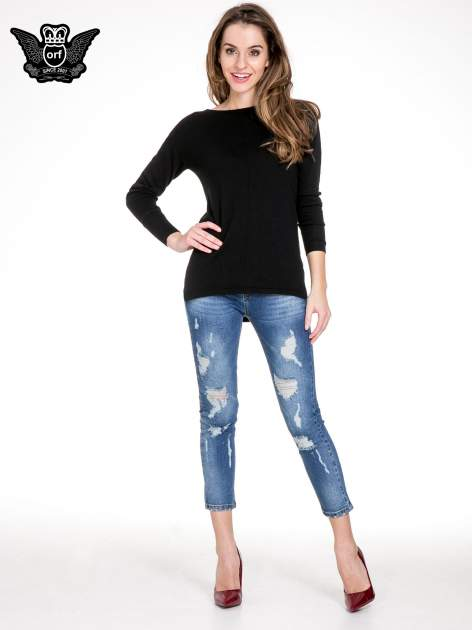 Niebieskie spodnie jeans 7/8 z dziurami i przetarciami                                  zdj.                                  4