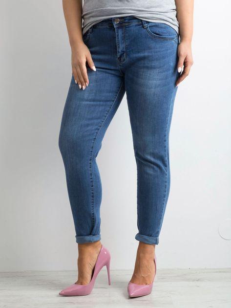 Niebieskie spodnie jeansowe rurki PLUS SIZE                              zdj.                              3