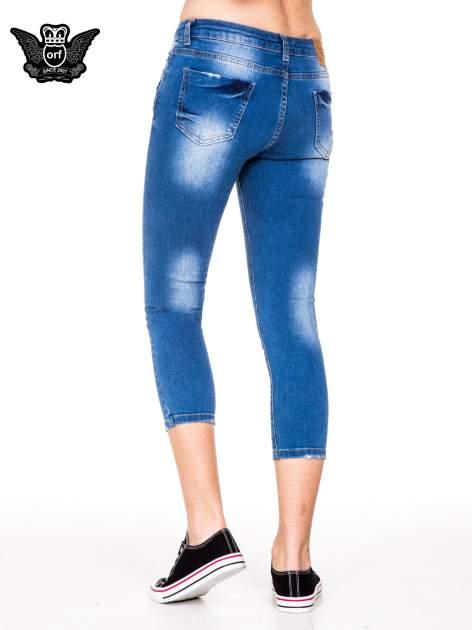 Niebieskie spodnie jeansowe skinny do połowy łydki                                  zdj.                                  2