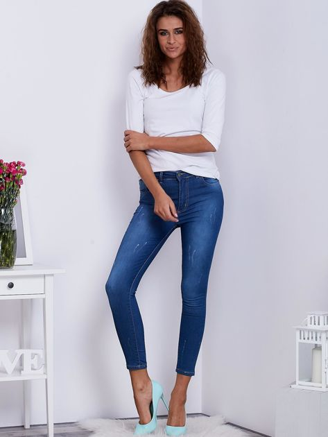 Niebieskie spodnie jeansowe skinny ze stretchem                                  zdj.                                  4