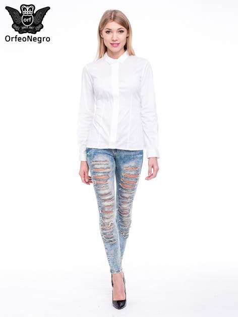 Niebieskie spodnie rurki typu trash jeans                                  zdj.                                  2