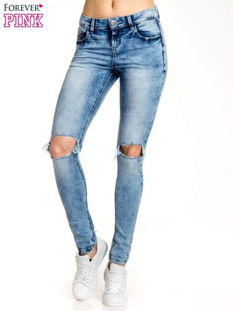 Niebieskie spodnie skinny jeans ripped knee                                  zdj.                                  1