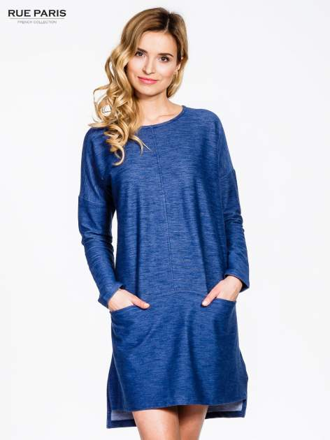 Niebieskie sukienka oversize z materiału a'la denim
