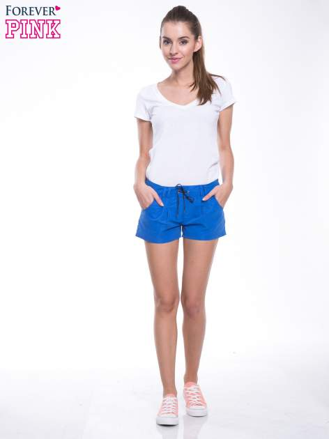 Niebieskie szorty plażowe wiązane w pasie                                  zdj.                                  5
