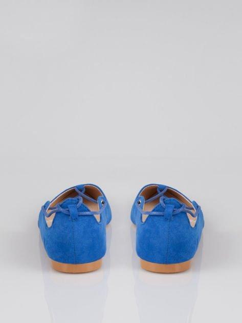 Niebieskie zamszowe wiązane baleriny faux suede lace up                                  zdj.                                  3