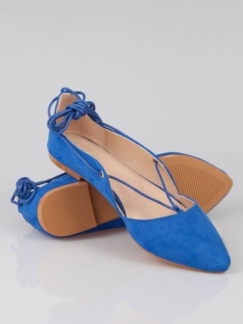 Niebieskie zamszowe wiązane baleriny faux suede lace up                                  zdj.                                  4