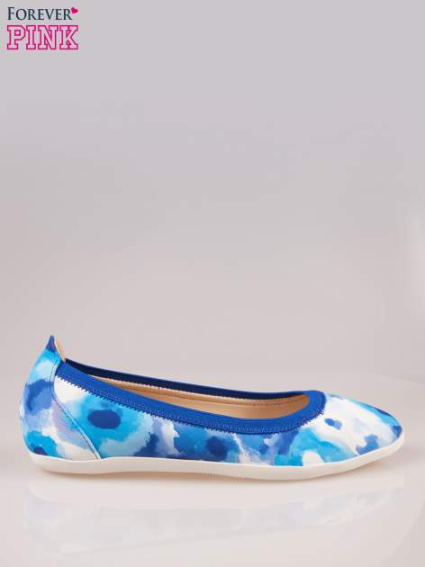 Niebiesko-białe kwiatowe baleriny Lily na gumkę                                  zdj.                                  1